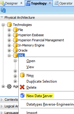 Create New XML Data Server