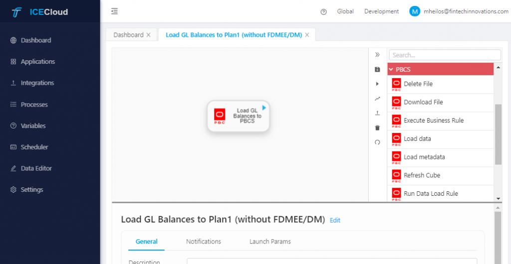 PBCS Vision - ICE Cloud Load GL Balances to Plan1 without DM - Integration