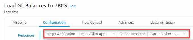 PBCS Vision - ICE Cloud Load GL Balances to Plan1 without DM - Target Resource
